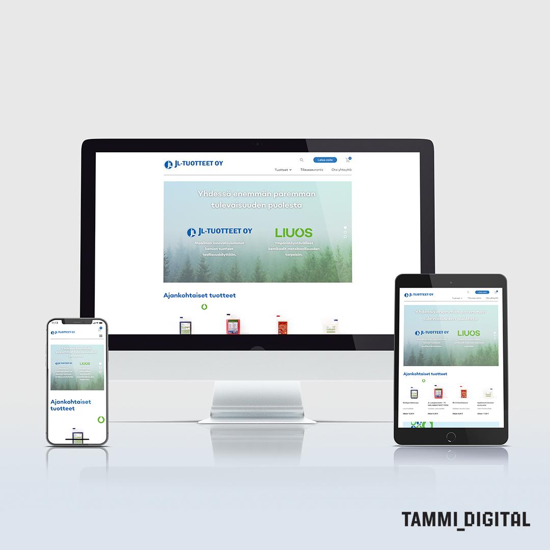 Kuva JL-Tuotteiden verkkosivuista tietokoneen, iPhonen ja iPadin ruudulla